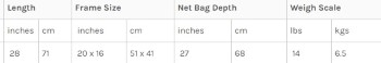 McLean Weigh-Net Size L Short Handle  Size Chart