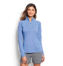Orvis Womens Drirelease Longsleeve Zip Tee Pacific Blue
