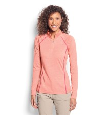 Orvis Womens Drirelease Longsleeve Zip Tee Orange Blossom