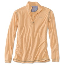 Orvis Drirelease Casting Zipneck Longsleeve Shirt Pale Orange