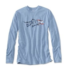 Orvis Americana Brown Trout Drirelease Longsleeve Shirt Bleached Blue