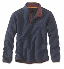Orvis Trout Bum Quilted Snap Dark Navy Sweatshirt