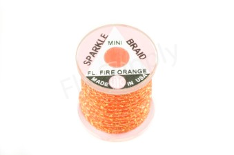 Miniature sparkle braid on spools Fluo Fire Orange