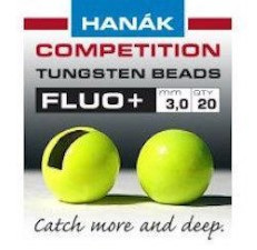 Hanak Tungsten Fluo Chartreuse Slotted Jig Beads 20pc