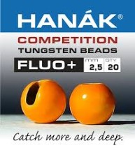 Hanak Tungsten Fluo Orange Slotted Jig Beads 20pc