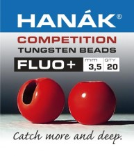 Hanak Tungsten Fluo Red Slotted Jig Beads 20pc