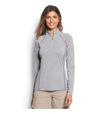 Orvis Women's Drirelease Longsleeve Zip Tee Heather Grey