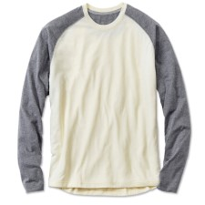 Orvis Drirelease Raglan Two Tone Longsleeve Shirt Cream Navy