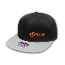 Scott Cap Flat Brim Snap Back Black/grey With Orange Scott Logo