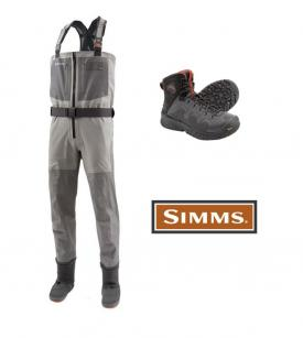 Simms G4 Zip Wader Set With G4 Pro Boot Vibram