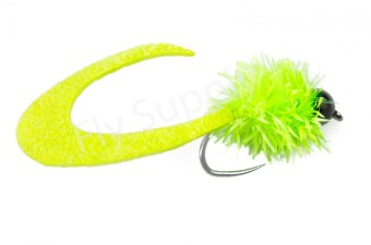 Wiggle Tail Fluo Chartreuse Trout & Perch Streamer #8