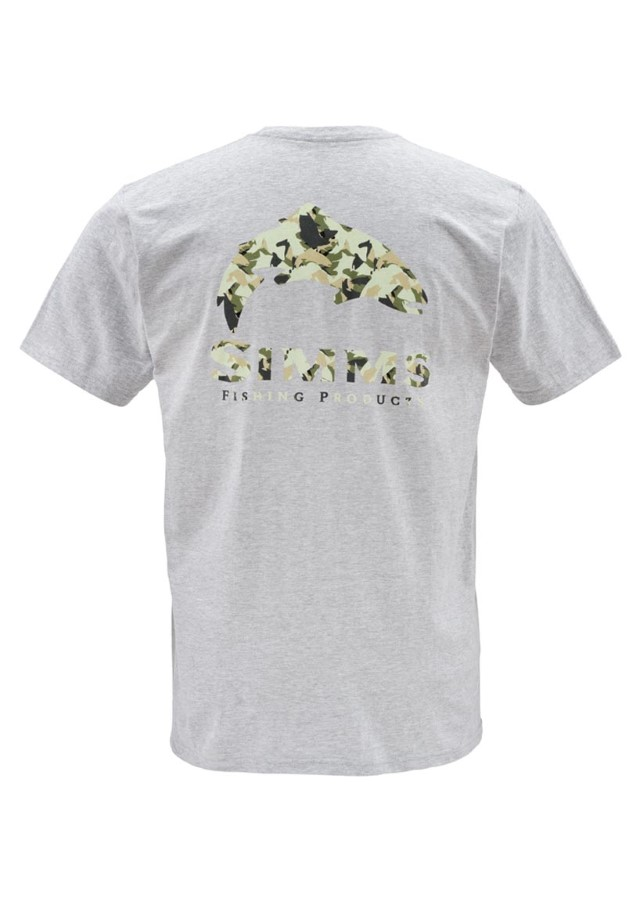 Simms T-Shirt Trout Camo Ash Grey
