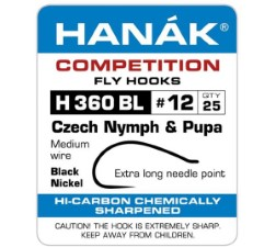 Hanak Czech Nymph & Pupa H 360 BL Hooks 25 pc