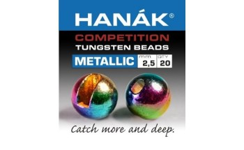 Hanak Tungsten Metallic Rainbow Slotted Jig Beads 20pc