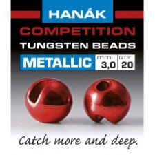 Hanak Tungsten Metallic Red Slotted Jig Beads 20pc