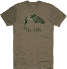 Simms Trout Hex Flo Camo T-Shirt Olive Heather