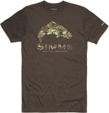 Simms Trout River Camo T-Shirt Brown Heather