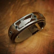 Sight Line Rooster Fish 2.0 Brown Leather Bracelet